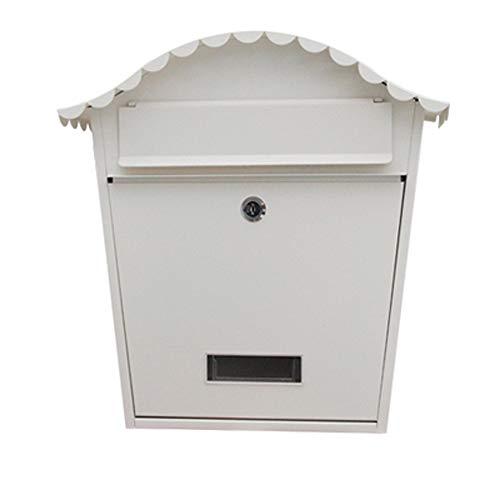 Postfach Im Freien Wasserdichter Briefkasten aus Schmiedeeisen Briefkasten im Freien Wasserdichter Briefkasten Wand-Briefkasten Ländlicher Briefkasten im Landhausstil (Color : Shawen white)