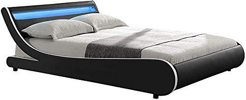 Con colchones, bases de celosía y cajas de cama, fundas de cuero artificiales y estructuras de madera con colchones y tablones,Black-140 x 200 cm
