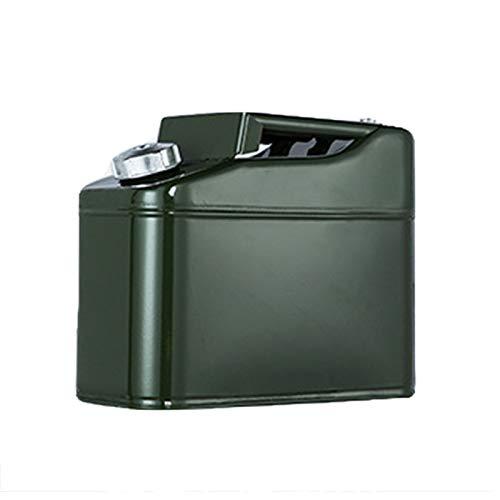 Ouumeis Tanque de Combustible de Metal Verde, Tanque de Combustible Cuadrado, Capacidad 10 litros, para existencias de Gasolina y diésel, Mango, Metal, Verde Oliva + Pico de diésel, sin Fugas