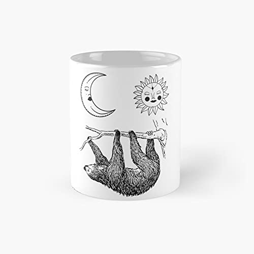 Sloth With Sleeping Sun And Moon Classic Mug - 11 Ounce For Coffee, Tea, Chocolate Or Latte.