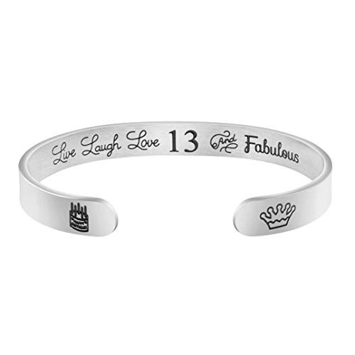 Personalized 13th Birthday Gifts for Girls Thirteenth Birthday Jewelry Cuff Bracelet Engraved Stainless Steel Bangle