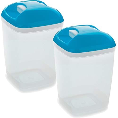 Set de 2 Coupelles hermeticos carrés avec couvercle bleu de 1,2 litres – BPA Free.