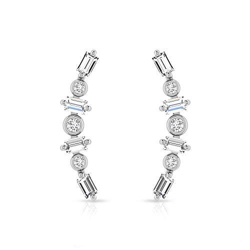 Pendientes minimalistas de cartílago de diamante certificado IGI, pendientes dorados delicados de trepador, pendientes de dama de honor, 14K Oro blanco, Par
