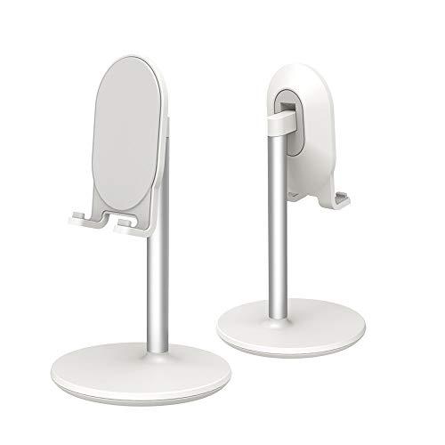 Phone Stand for Desk, Cell Phone Stand Adjustable Desk Phone Holder Tablet Holder Phone Dock(White)
