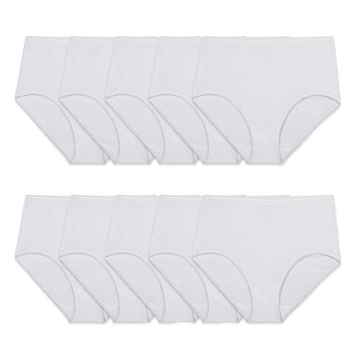 Fruit of the Loom Women's Tag Free Cotton Brief Panties (Regular & Plus Size), Brief-10 Pack-White, 7