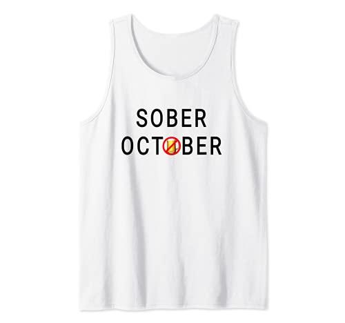Sobre para Octubre Mes Sin Cerveza Vino o Alcohol 2021 Camiseta sin Mangas