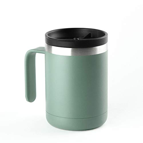 ICONIQ Stainless Steel Vacuum Insulated Tumbler Mug with Builtin Handle and Splash Proof Lid | 12 Ounce | Hinterland Green