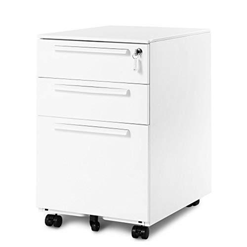 Sonfer Rollcontainer abschließbar inkl. 3 Schübe, grundsolide Verarbeitung, Schreibtisch Container Büromöbel,Schubladenschrank Metall, Büro Rollkontainer mit Schubladen, Hängeregistratur (Weiss A)