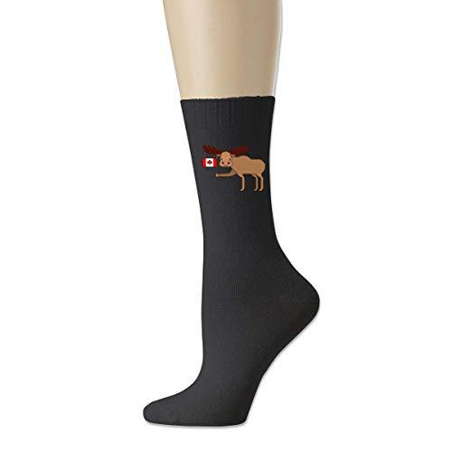 BEDKKJY Elch und Kanada Flagge Herren atmungsaktive Baumwolle Socken lustige Crew Socken Kleid Socken