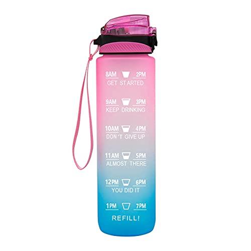 QAZW Botella de Agua 32 Oz, Botella de Agua para Deportes Motivacionales con Marcador de Tiempo para Beber, Libre de BPA y a Prueba de Fugas, para Deportes Al Aire Libre y Oficina,Pink/blue-1L