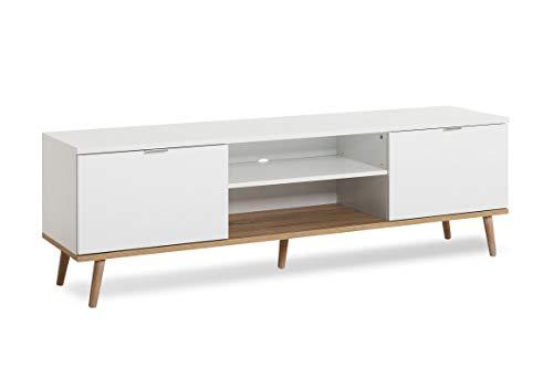 Newfurn TV Lowboard Skandinavisch TV-Schrank Fernsehtisch Rack Board II 160x50x 40 cm (BxHxT) II [Elia.Five] in Weiß/Weiß Wohnzimmer Schlafzimmer