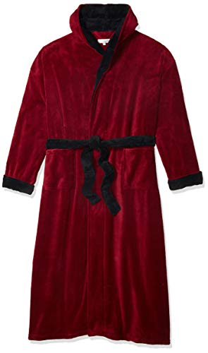 Alexander Del Rossa Men's Warm Fleece Robe with Hood, Big and Tall Bathrobe, 1X-2X Burgundy with Black Contrast (A0125BRB2X)