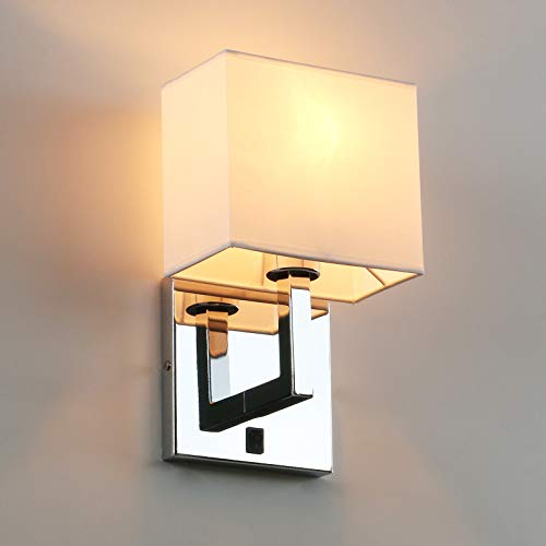 Permo Single Wall Sconce Light Fixture Chrome Finish with White Textile Shades and On/Off Switch Button Small Modern Nightstand Lamps for Bedrooms Bedside Reading