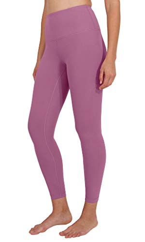 90 Degree By Reflex Ankle Length High Waist Power Flex Leggings - 7/8 Tummy Control Yoga Pants - French Pink - XS