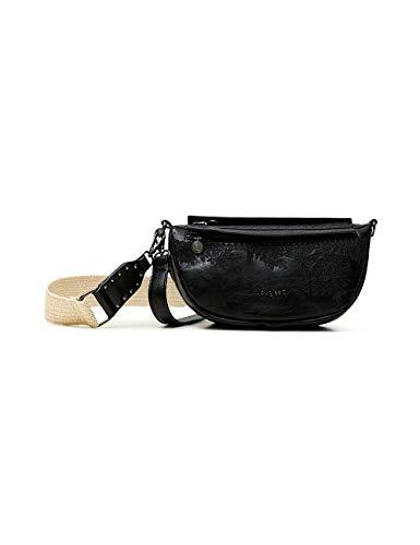 Desigual PU Shoulder Bag, Bolso Bandolera. para Mujer, Negro, U