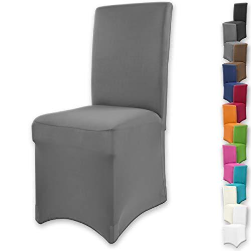 """Gräfenstayn® Funda para sillas elásticas Henry - respaldos Redondos y angulares - Ajuste bi-elástico con Junta Oeko-Tex Standard 100:""""Confianza verificada (Antracita)"""