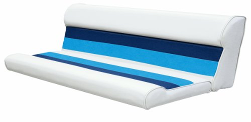 "Wise 8WD106-1008 Deluxe Series 55"" Pontoon Bench Seat Cushion Set (Base Required to Complete), White/Navy/Blue"