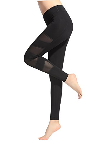 Lotus Instyle Damen Mesh Panels Fitness Hose Gym Leggings Yoga Hose Gr. XL, Schwarz7