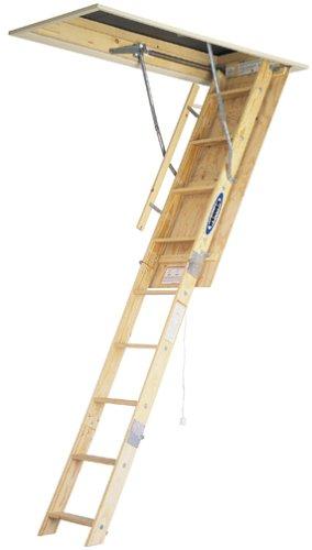 Werner W2508 250-Pound Duty Rating Wood Folding Attic Ladder, 8-Foot