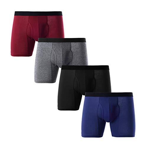 4er Pack Herren Boxshorts,Z-MENG 95% Baumwolle Fahrrad Unterwäsche,Kühlende microfaser Ultradünn Sportunterwäsche,Hipster Einfarbig Retroshorts für Männer Atmungsaktiv Bequem Casual Unterhosen