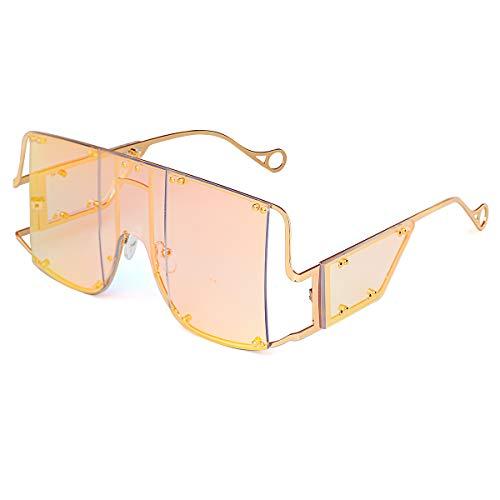 GUVIVI Oversized Fashion Square Sunglasses Women New Mirror Men Shades Glasses Luxury Metal Rivet Trend Unique Female Eyewear (Pink)