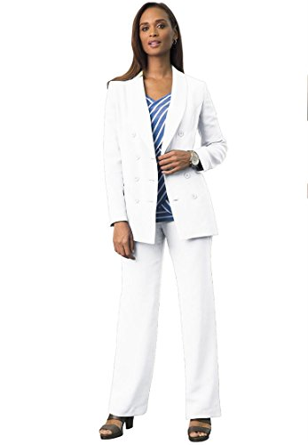 Jessica London Plus Size Double-Breasted Pantsuit (White,24)