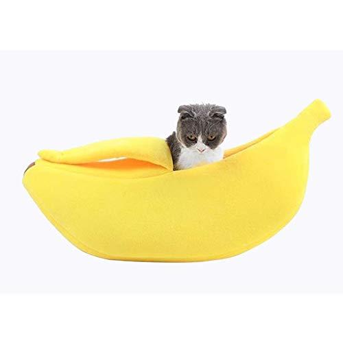 Casa de cama de gato de plátano lindo, con cubierta, camada for mascotas de Navidad Cama de abrazo cálido suave, encantadoras for gatos for gatos Conejo Conejo Pequeña cama (Size : 90x30x20cm)