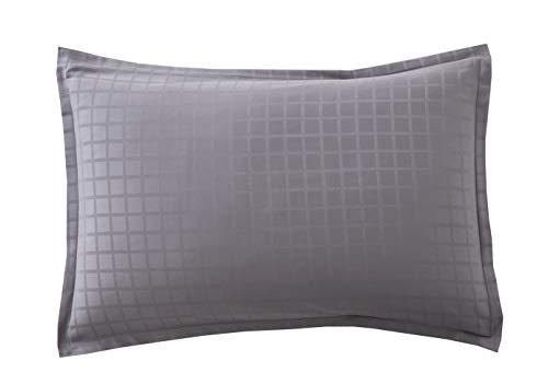 Blanc des Vosges Taie rectangle Palace Ardoise 50 x 75 cm - Satin jacquard 100% coton