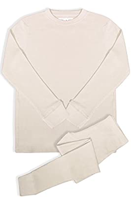 BASICO Women's 2pc Long John Thermal Underwear Set 100% Cotton (Large, New Ivory)