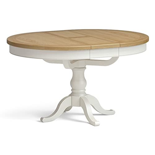 Chichester Cream Extendable Round Dining Table with Oak Top | Roseland Furniture 110-140cm Painted Solid Wooden Extending Dinner Table Seats up to 4-6 people for Dining Room or Kitchen (Ivory)