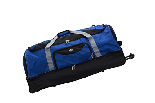 Rockland Drop Bottom Rolling Duffel Bag, Navy, 40-Inch