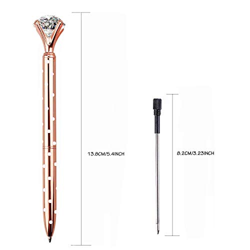 LONGKEY 3PCS Rose Gold With Dot Diamond Pens Large Crystal Diamond Ballpoint Pen Bling Metal Ballpoint Pen Office and School Including 3 Pen Refills … Photo #2