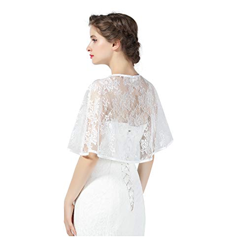 Lace Cape Wedding Capelet Women Shawl Bridal Cover Up Wrap Bolero for Dress Party Off White Standard Size