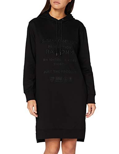 G-STAR RAW Damen Casual Dress Graphic Text Boyfriend Hooded, Dk Black A613-6484, Medium