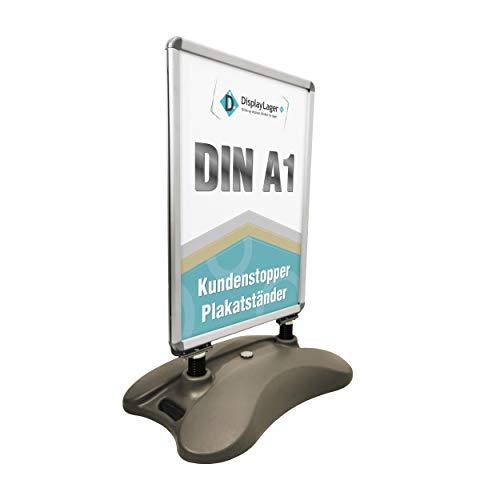 Kundenstopper Plakatständer Model Wind-Sign | Für Postermass DIN A1 594x841 mm. Robuster Wetterfester Plakataufsteller. Standgewicht für hohe Windgeschwindigkeiten und Rollen für einfache Transport