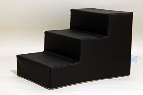 BiBi Relax Escalera para perros negra con 3 peldaños de 20 cm antideslizante, ayuda a alcanzar camas y sofás de piel sintética fácilmente lavable para perros y gatos. 100% fabricada en Italia.
