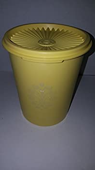 Tupperware Daffodil Yellow Servalier Canister 6.25  Tall Vintage #811 with Sunburst Lid
