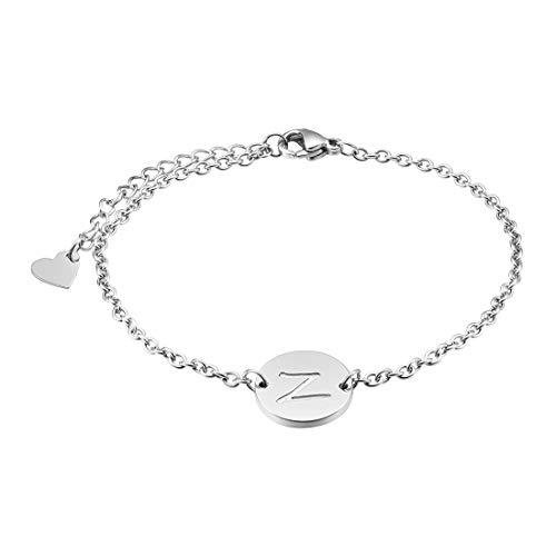 Three Keys Jewelry Z Initial Bracelet Girl Dainty Silver Simple Alphabet Custom Circle Heart Coin Pendant Disc Stainless Steel Initial Charm Bracelet for Girls