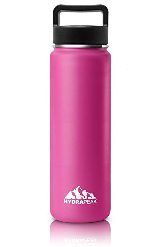 Hydrapeak Stainless Steel Vacuum Insulated Water Bottle, BPA Free Leak Proof Wide Mouth, Double Walled, Flask with Handle Lid. (Hot Pink, 22oz)