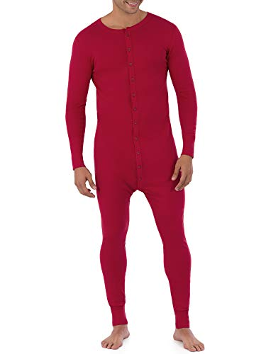 Fruit of the Loom Men's Premium Thermal Union Suit, Red, Large
