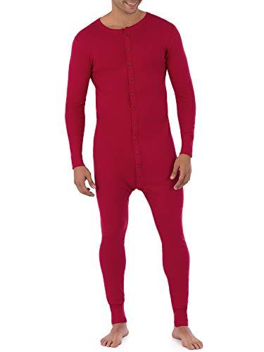 Fruit of the Loom Men's Premium Thermal Union Suit, Red, Medium
