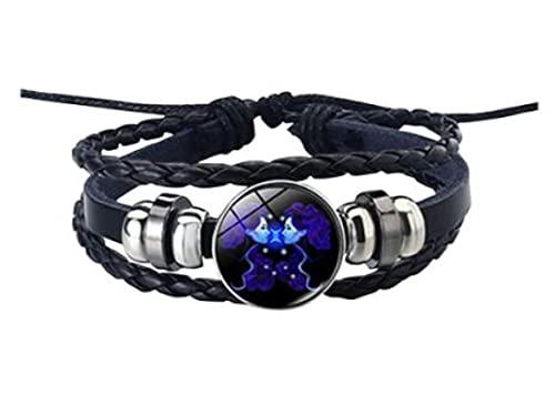 MRZJ Pulsera de piel con signo del zodiaco 12 constelaciones, para hombre y mujer, con abalorios, accesorio de regalo, pulsera punk trenzada (pez, talla única)