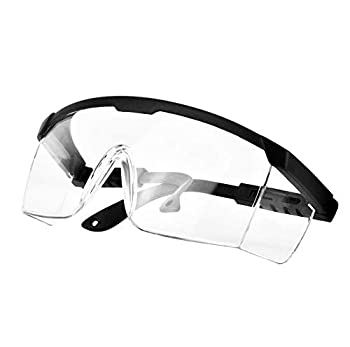 PETLESO Safety Glasses Anti Fog Safety Goggles Eye Protection Clear Glasses for Work Lab Black