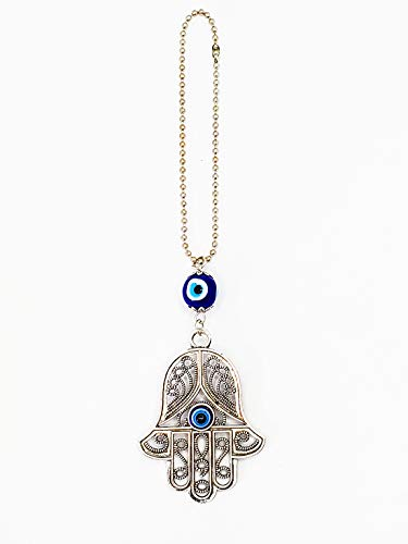 "LUCKBOOSTIUM - Lucky Evil Eye in an Ornate Silver Hamsa Hand Pendant on a chain with Lucky Eye bead, for happiness, luck, health, power, décor Car, office, Home, Great Gift, 1.8"" x 7.3"""