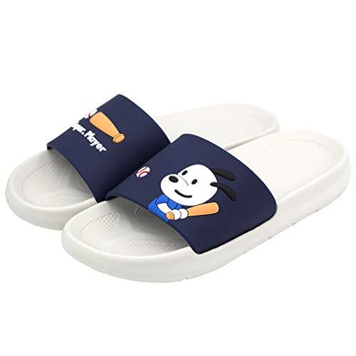 Aogula Niedliche Slides für Männer, Cartoon-Hunde, Baseball-Jungen, leichte Slide-Sandalen für den Sommer, Blau (blau), 40 EU