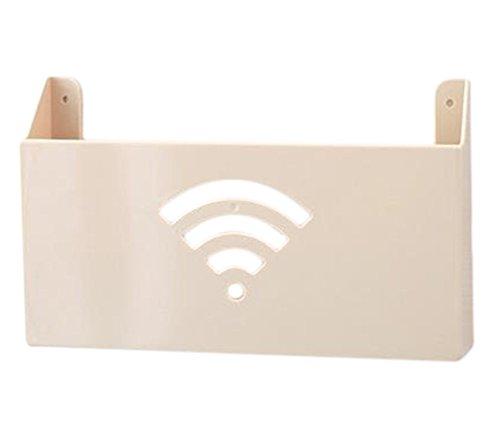 Ruikey routeur Wifi étagère de rangement Magazine Boîte de rangement Décoration Creative Décoration murale à suspendre Set-Top Box Étagère Rack, Plastique, jaune, 26.5*6*16.5 cm