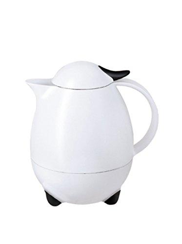 Leifheit Columbus 1, 0 L Isolierkanne, 100{e66d433762a7b240fb2800ec3de15327c95d1cde072c3181fd216539673311d2} dicht, Thermoskanne mit bewährter Aromataste, praktisches Öffnen und Schließen mit einer Hand, Kaffekanne, Teekanne, weiß, hochglanz