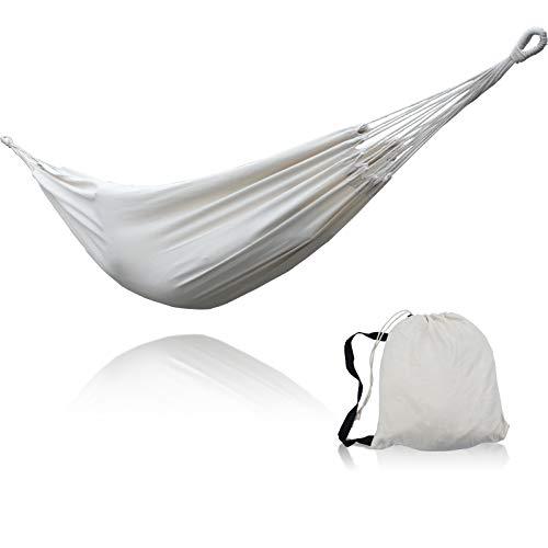 SUNNY GUARD Hamaca Doble brasileña para 2 Personas Hamaca de Tela de algodón con Bolsa de Transporte para Patio, Porche, jardín, Patio Trasero, Uso en Interiores y Exteriores,Crema