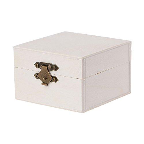 guoyy–Caja de almacenamiento para joyas de madera cuadrado Base de madera artesanía casos Art Decor Kids DIY juguetes