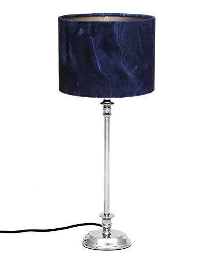 Brillibrum Design Tischlampe blauer Schirm Marmor Optik Tischleuchte 1-flammig Nachtischlampe Lampenschirm dunkel Blau Zylinder max 40 Watt E27 (Blau, ovaler Fuß)